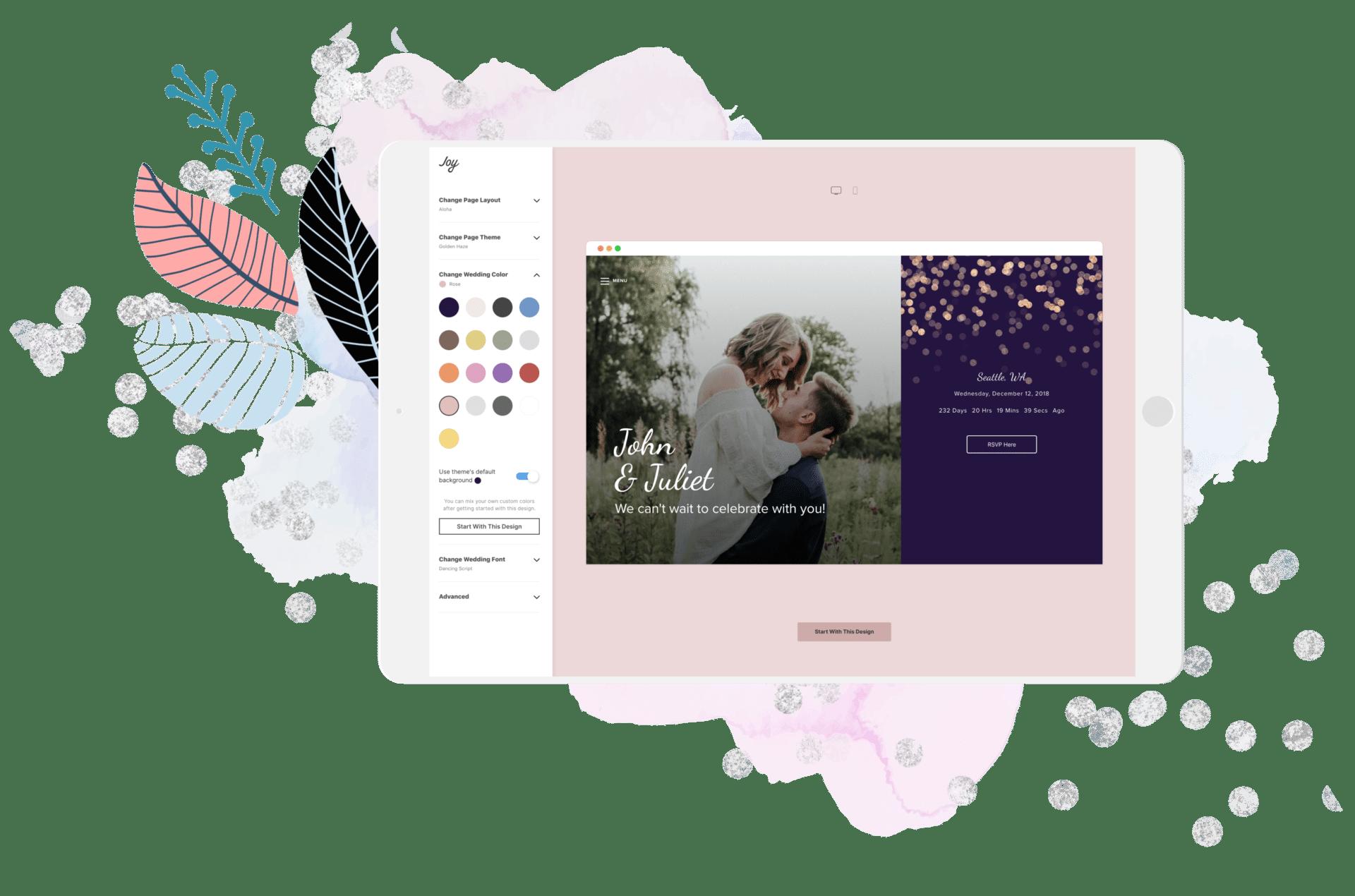Joy Wedding Website.Wedding Websites With Joy Customizable Beautiful Templates